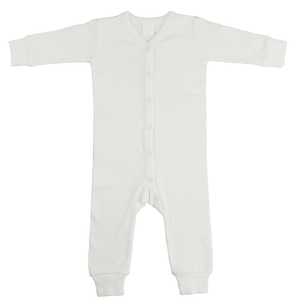 Interlock White Union Suit Long Johns